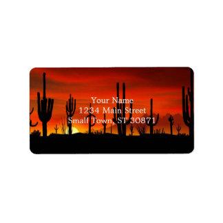 Illustration of cactus tree when the sunset address label