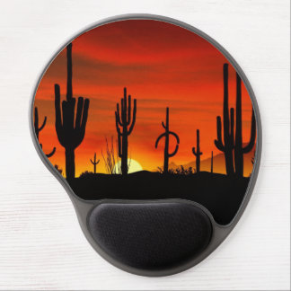 Illustration of cactus tree when the sunset gel mouse mat
