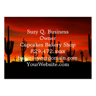 Illustration of cactus tree when the sunset pack of chubby business cards