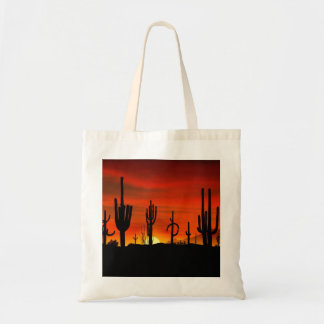 Illustration of cactus tree when the sunset tote bag