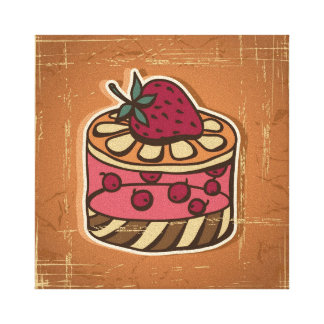 Illustration of cake in retro style canvas print
