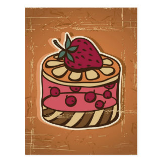 Illustration of cake in retro style postcard