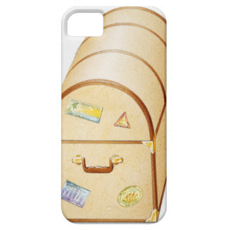 Illustration of chest with travel stickers on barely there iPhone 5 case