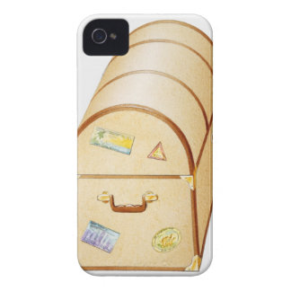 Illustration of chest with travel stickers on iPhone 4 cover