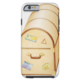Illustration of chest with travel stickers on tough iPhone 6 case
