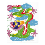 Illustration of Chinese dragon flying