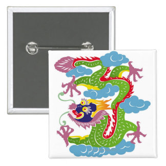 Illustration of Chinese dragon flying 15 Cm Square Badge