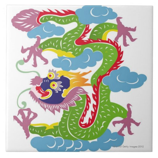 Illustration of Chinese dragon flying Ceramic Tiles