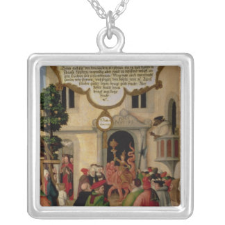Illustration of Christ's teaching Silver Plated Necklace