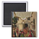 Illustration of Christ's teaching Square Magnet