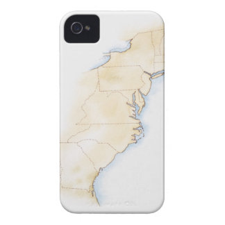 Illustration of coastline and borders from Maine iPhone 4 Case-Mate Case