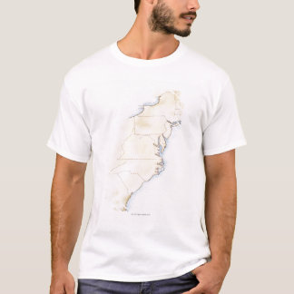 Illustration of coastline and borders from Maine T-Shirt