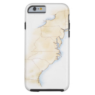 Illustration of coastline and borders from Maine Tough iPhone 6 Case