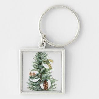Illustration of coniferous tree with cones Silver-Colored square key ring