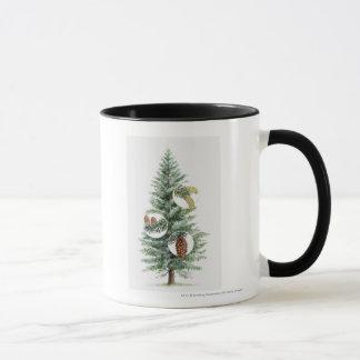 Illustration of coniferous tree with cones mug
