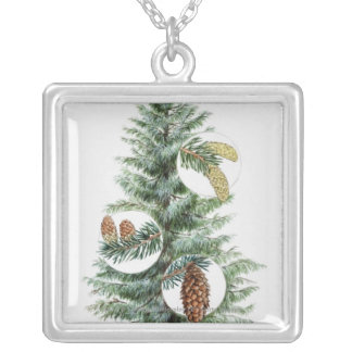 Illustration of coniferous tree with cones silver plated necklace