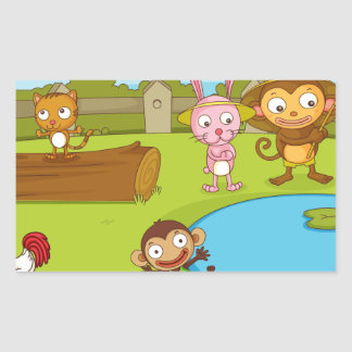 Illustration of cute animals playing rectangle sticker