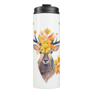 Illustration of Deer With Autumn Leaves Thermal Tumbler