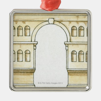 Illustration of early 4th century Arch of Janus Silver-Colored Square Decoration