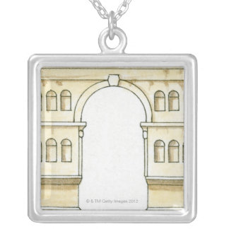 Illustration of early 4th century Arch of Janus Silver Plated Necklace