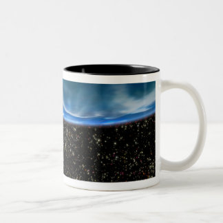 Illustration of Earth's horizon Two-Tone Coffee Mug