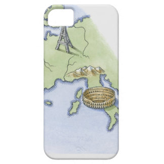 Illustration of Eiffel Tower in Paris and Case For The iPhone 5