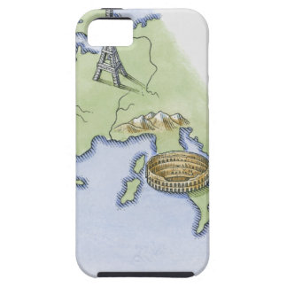 Illustration of Eiffel Tower in Paris and iPhone 5 Cover