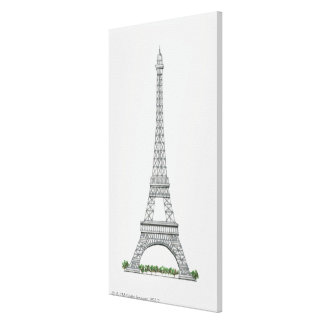 Illustration of Eiffel Tower in Paris, France. Canvas Print