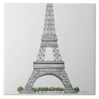 Illustration of Eiffel Tower in Paris, France. Large Square Tile