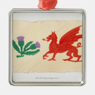 Illustration of English Rose, Scottish Thistle, Christmas Ornament