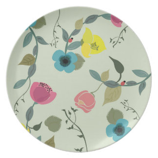 Illustration of floral patterns on a plate