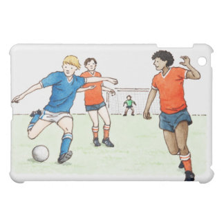 Illustration of footballers playing iPad mini cover
