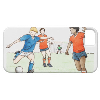 Illustration of footballers playing iPhone 5 covers