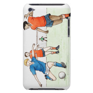 Illustration of footballers playing iPod touch cases