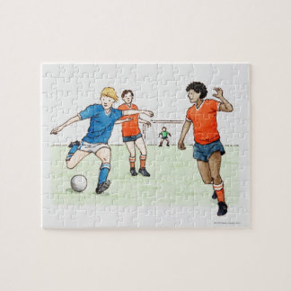 Illustration of footballers playing jigsaw puzzle