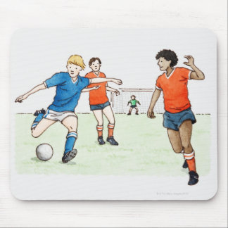 Illustration of footballers playing mouse mat