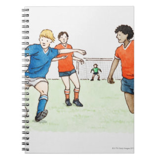 Illustration of footballers playing note books
