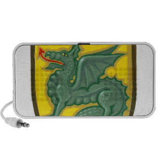 Illustration of green dragon sticking out red mp3 speakers