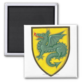 Illustration of green dragon sticking out red square magnet