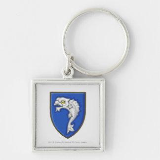 Illustration of heraldic fish symbol on shield key ring