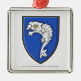 Illustration of heraldic fish symbol on shield Silver-Colored square decoration