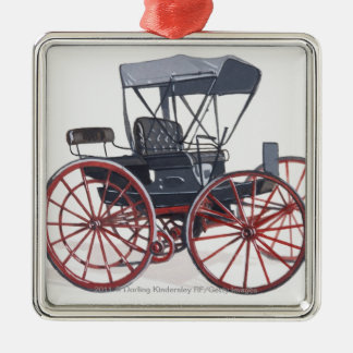 Illustration of horseless carriage Silver-Colored square decoration