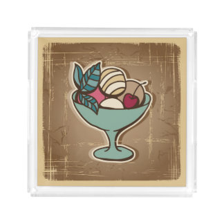 Illustration of Ice Cream in retro style Acrylic Tray