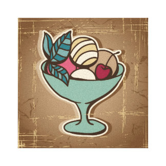 Illustration of Ice Cream in retro style Canvas Print