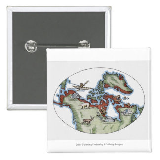 Illustration of Inuit territory 15 Cm Square Badge