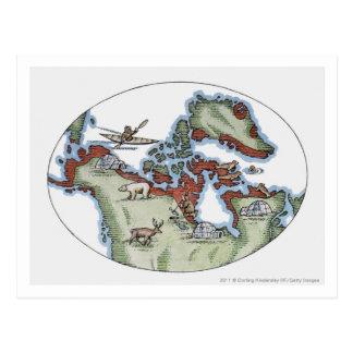 Illustration of Inuit territory Postcard