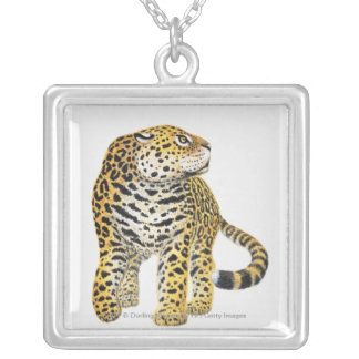 Illustration of Jaguar with head in profile Silver Plated Necklace