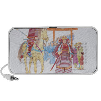 Illustration of Japanese Samurai leading Laptop Speakers
