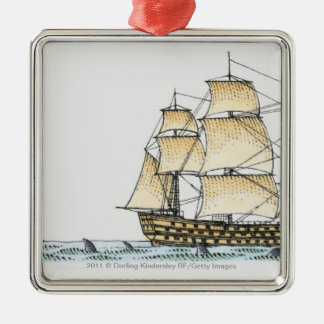 Illustration of late 18th century warship Silver-Colored square decoration