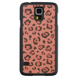 Illustration of Leopard Pink Animal Carved Maple Galaxy S5 Case